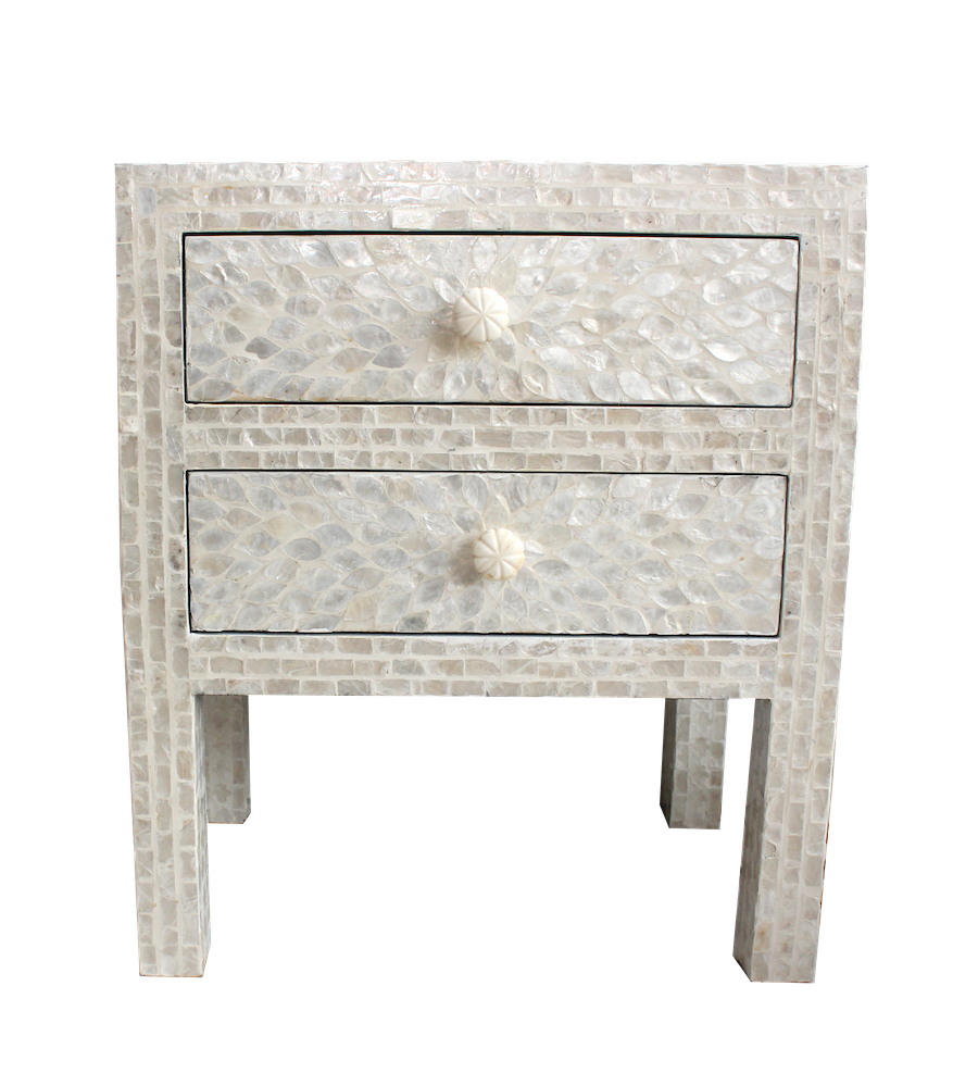 Shell Inlay Bedside Table