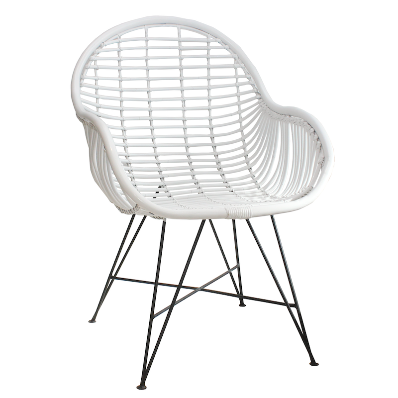 Rattan Arm Chair - White