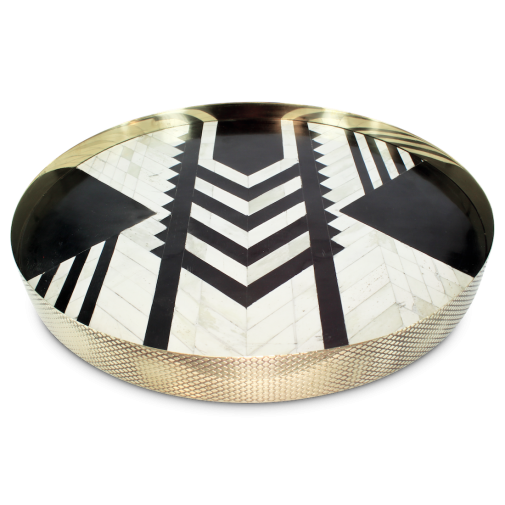 Bone Inlay Brass Tray