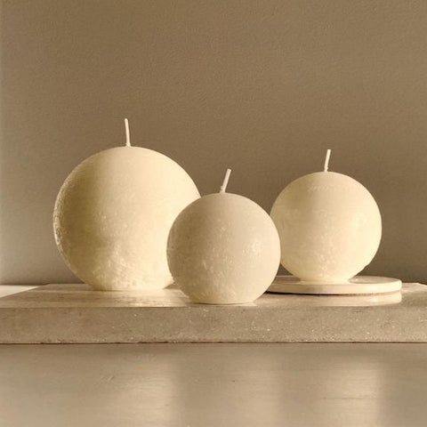 Textured Sphere Candles - Warm White