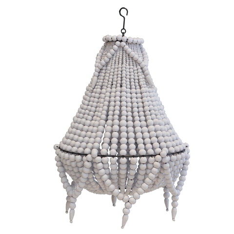 Beaded Chandelier II - White - Small