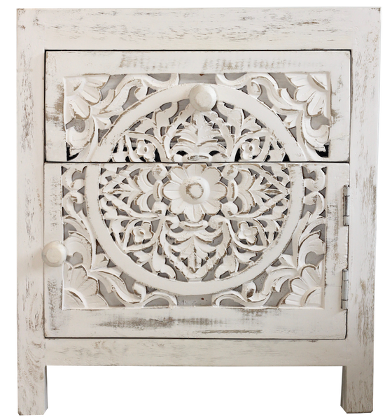 Hand Carved Side Table - White Wash