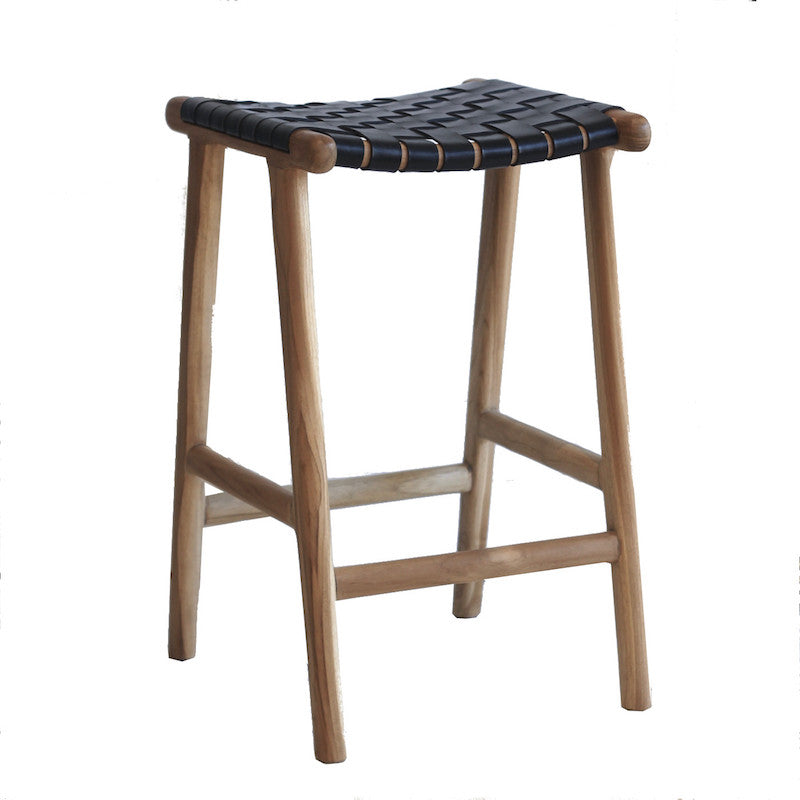 Leather Stool - Black
