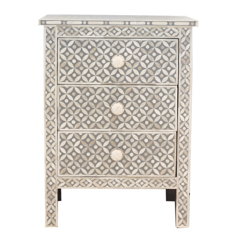 Bone Inlay Bedside Table - Grey