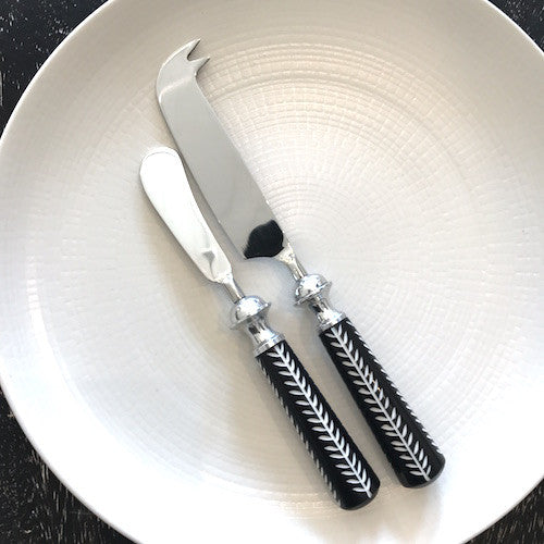 Bone Inlay Cheese Knives