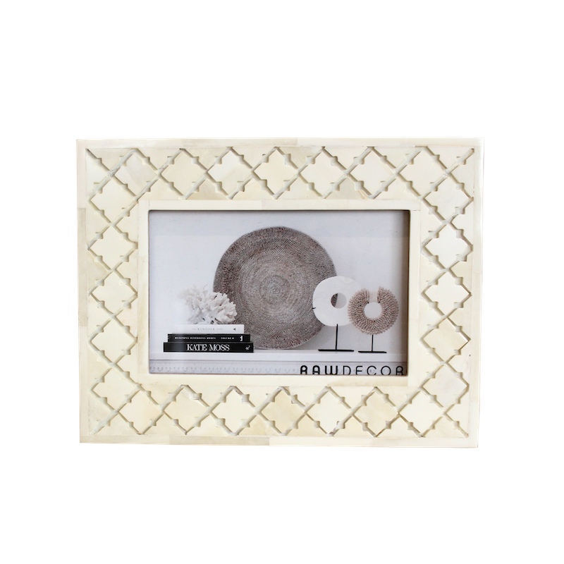 Bone Carved Moroccan Photo Frame - Cream