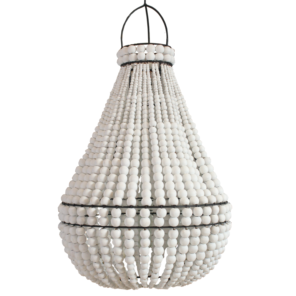 Contrast Beaded Chandelier - White