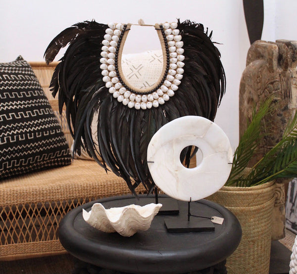 Tribal Feather Neckpiece - Long Black