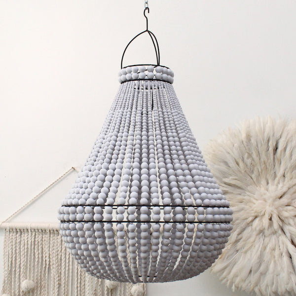 Contrast Beaded Chandelier - Medium - White