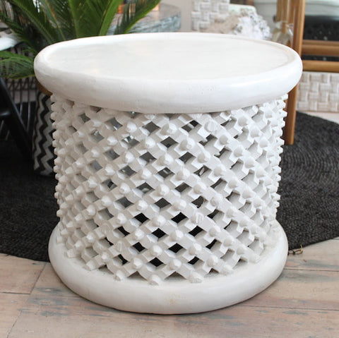 Bamileke Side Table - white