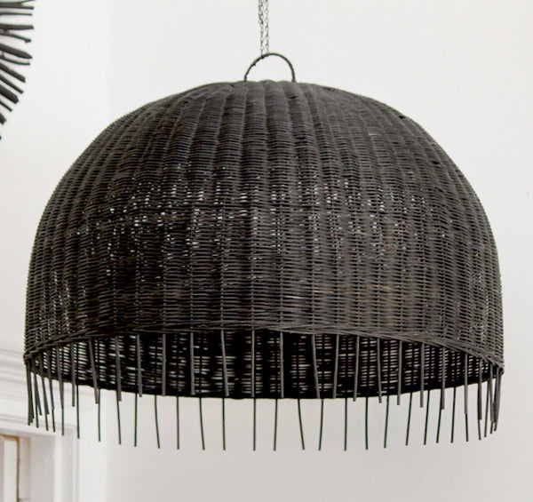 Rattan Pendant - Black Large