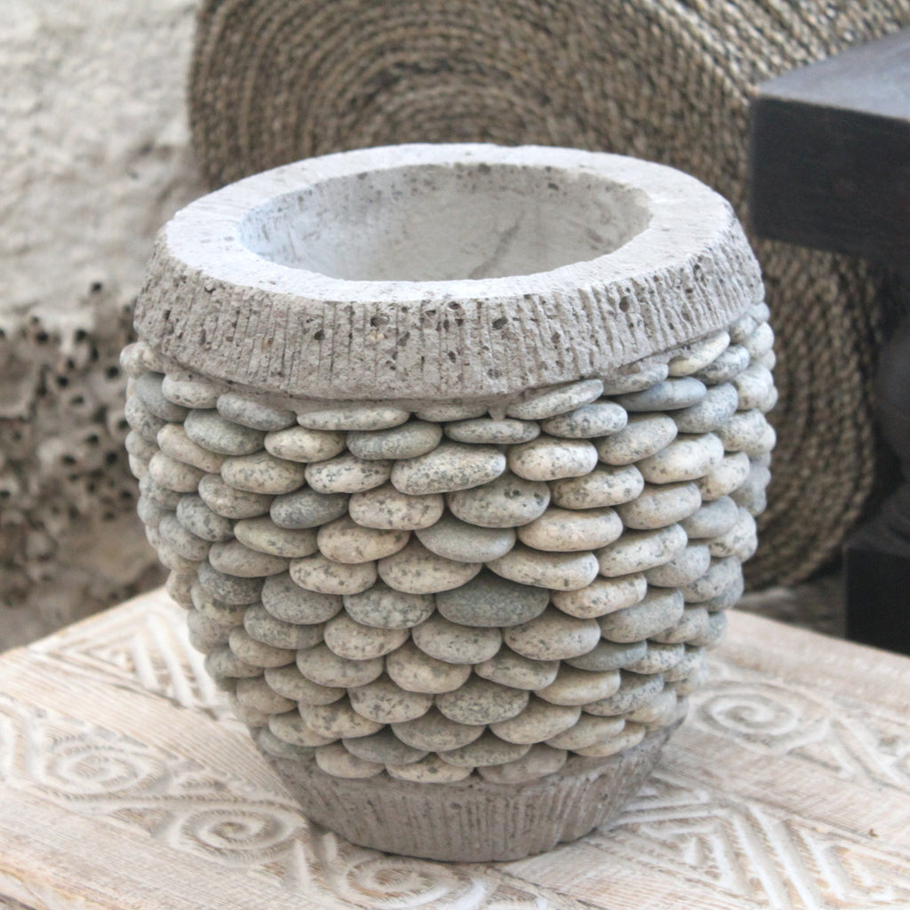 Pebble Concrete Plant Pot