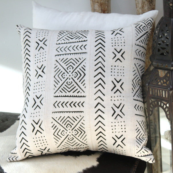 Mali Mud Cloth Cushion - White