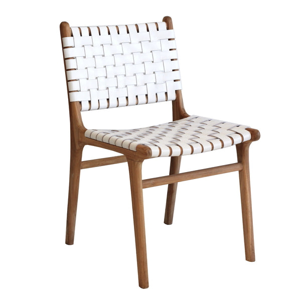 Leather Strapping Chair - White
