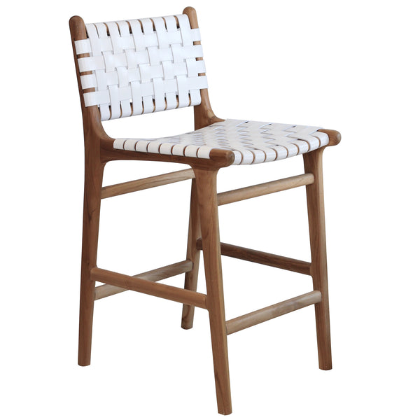 Leather Bar Stool with Back - White
