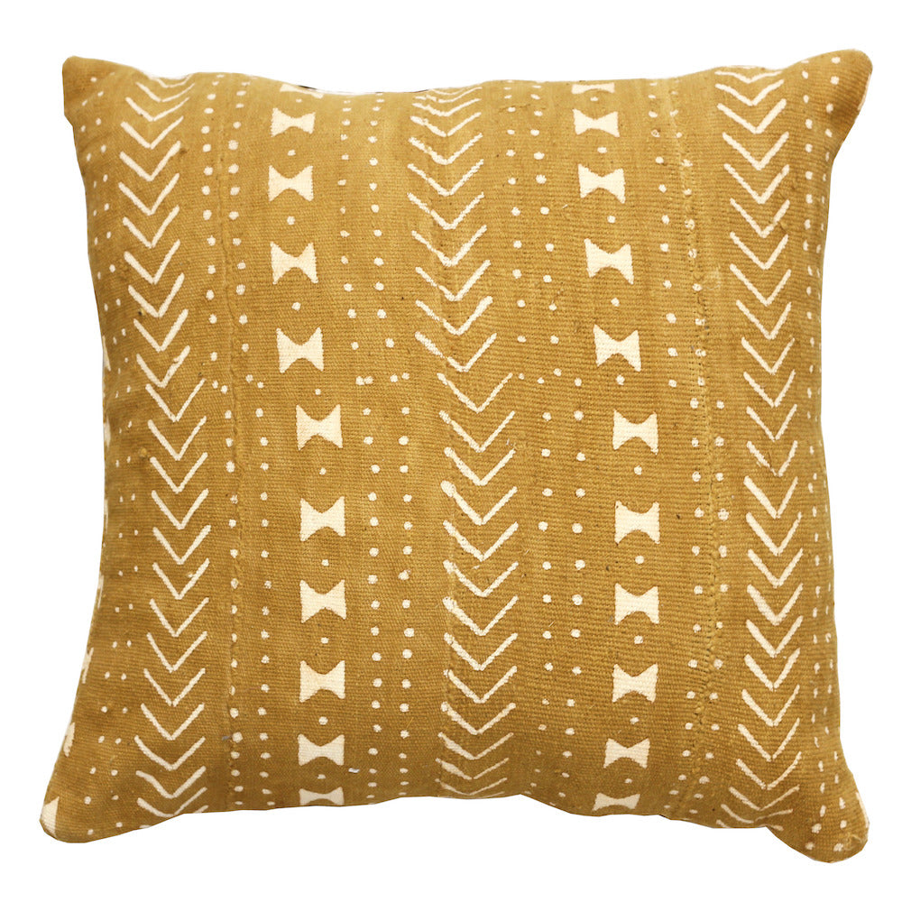 Mali Mud Cloth Cushion - Mustard