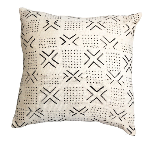 Mali Mud Cloth Cushion - White III