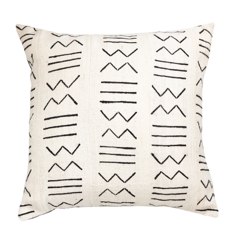 Mali Mud Cloth Cushion - White IV
