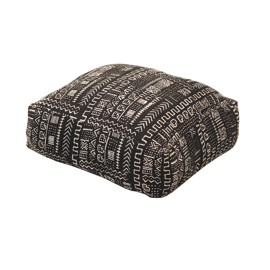 Mali Mud Cloth Pouffe - Black