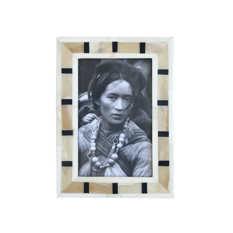 Bone Inlay Photo Frame - Geo