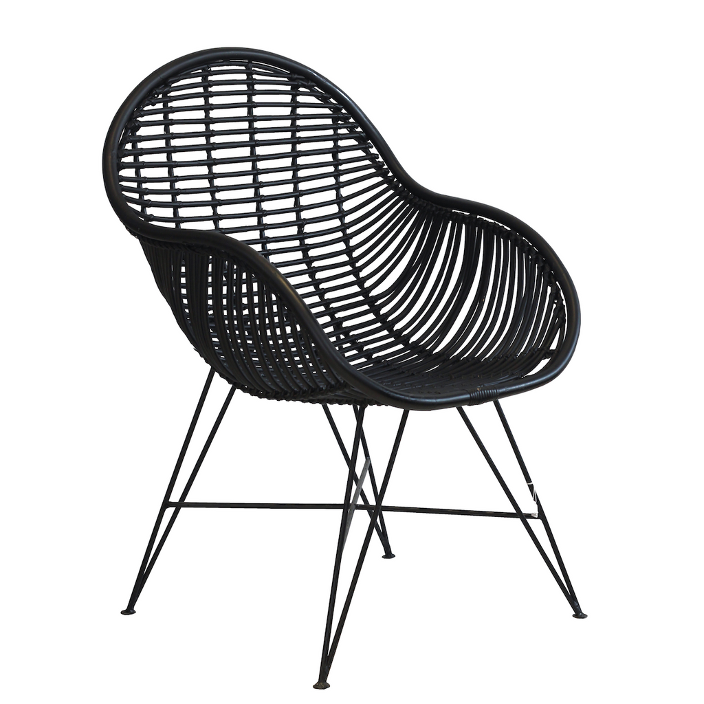 Rattan Arm Chair - Black