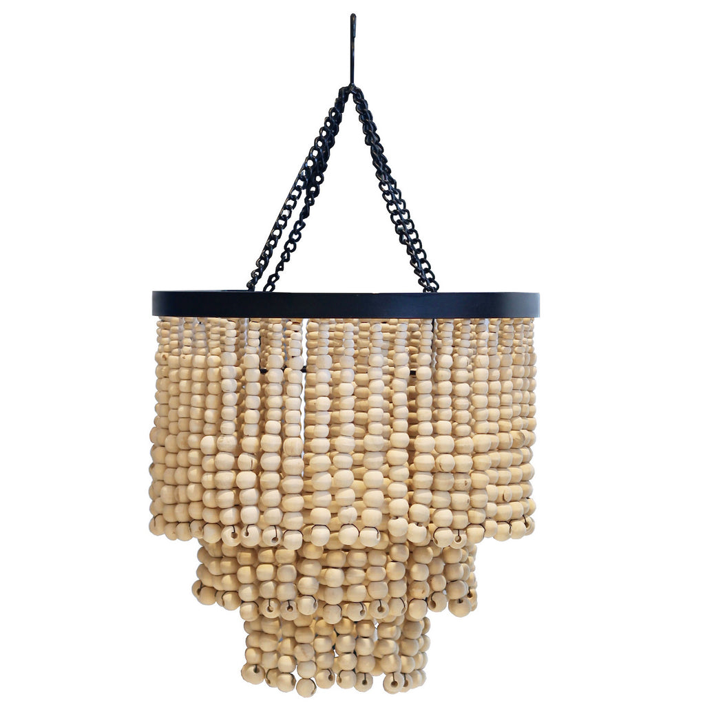 Round Beaded Chandelier - Natural - Small