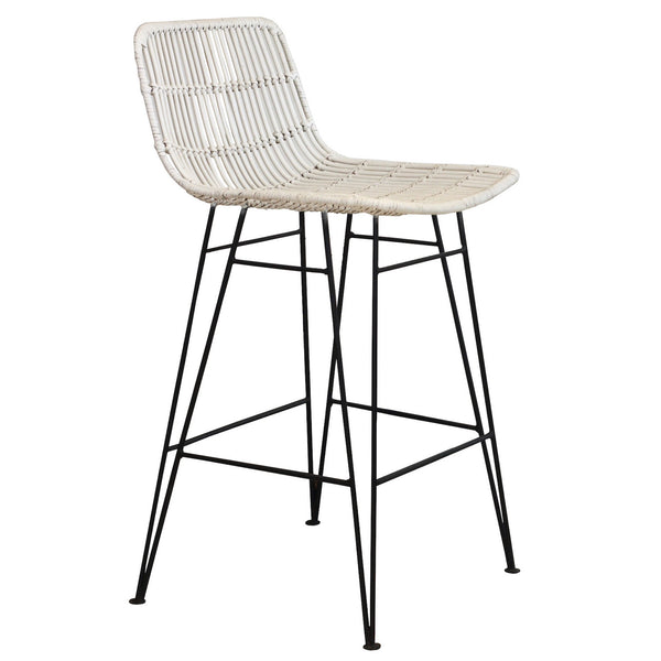 Rattan Bar Stool - White