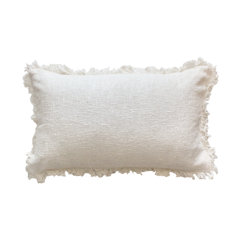 Fringe Cushion || - White