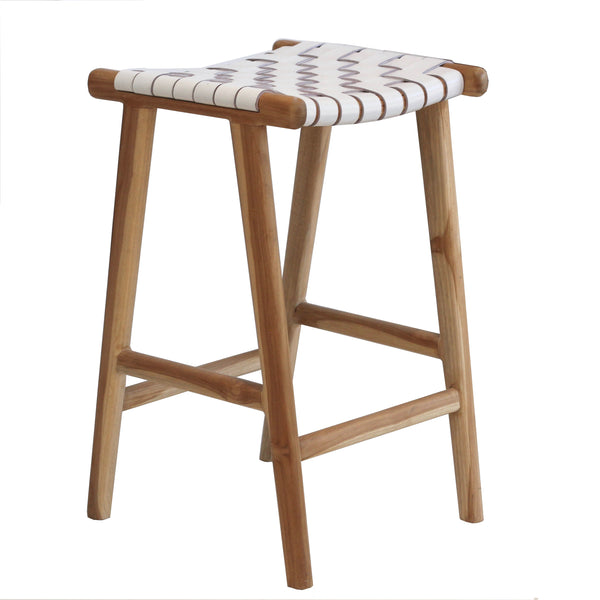 Leather Strapping Stool - White
