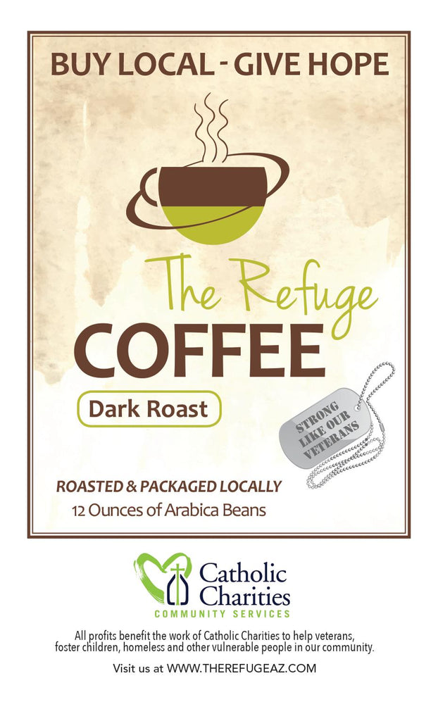 Refuge Coffee 100% Arabica Whole Bean Dark Roast Blend 12 oz