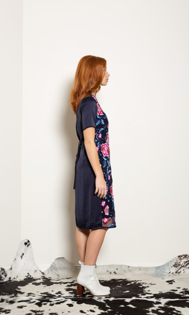 Attentive Dress - Pretty Pink Embroidery