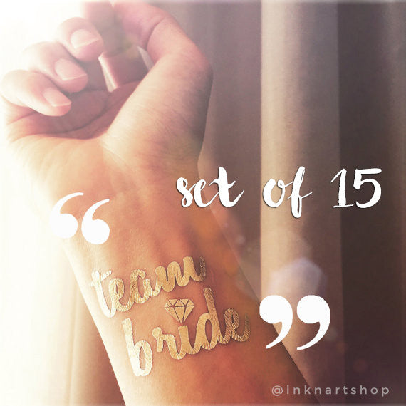 Set of 15pcs Metallic 'Team Bride' Party Tattoo