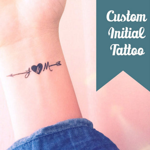 Set of 2 or 4 Custom Tattoo - Small initial arrow