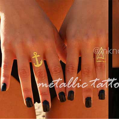Metallic Temporary Tattoo Anchor Arrow flash tattoo