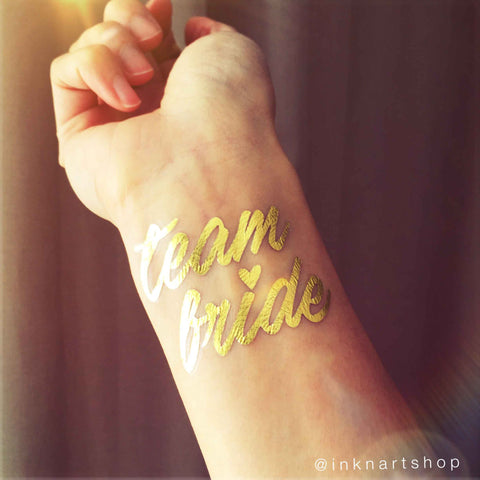 Metallic 'Team Bride' With Heart Party Tattoo