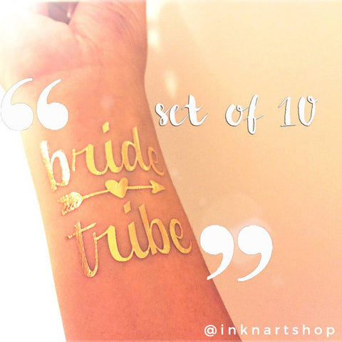 Set of 10pcs Metallic 'Bride Tribe' Party Tattoo