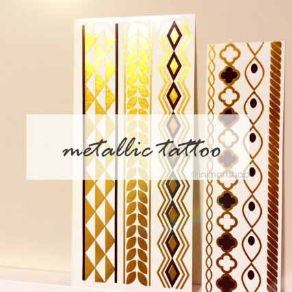 Gold Silver Jewel Bracelet Metallic temporary tattoo