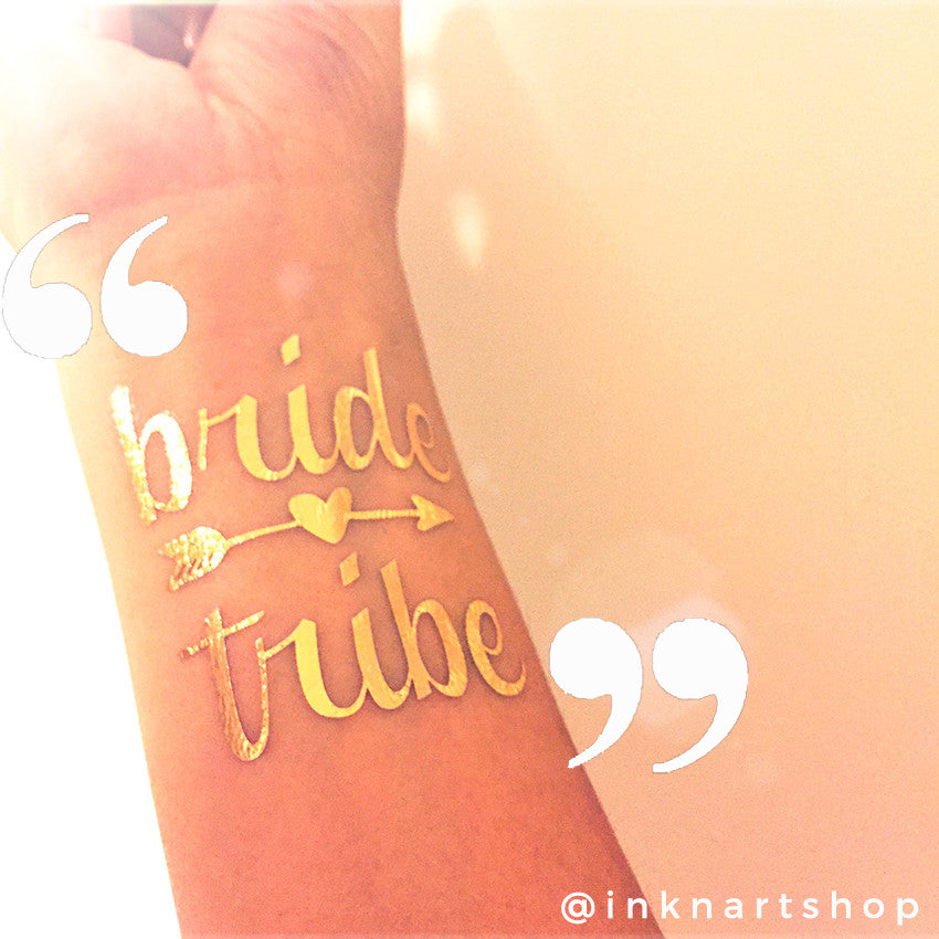 Gold Metallic 'Bride Tribe' Party Tattoo