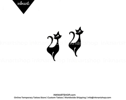 Black Cat silhouette temporary tattoo