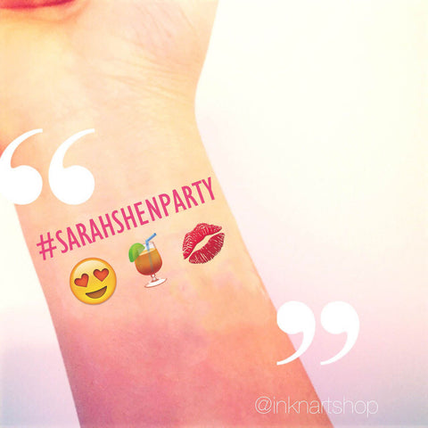 Custom Tattoo - I Heart Martini Emoji Party Tattoo