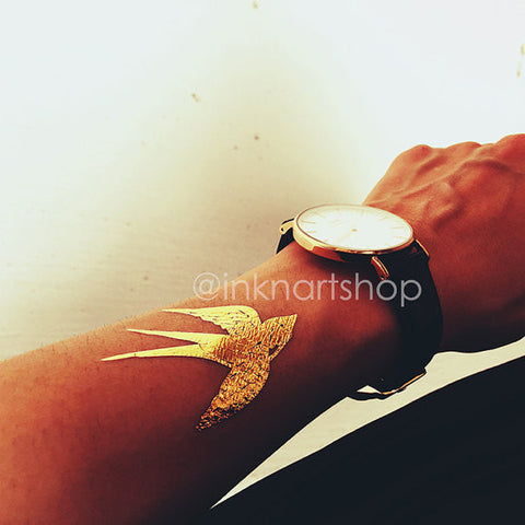 Metallic Gold Bird Swallow