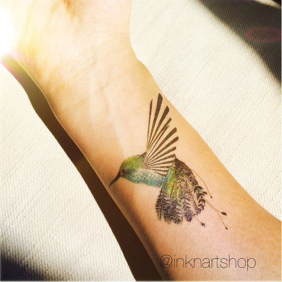 humming bird tattoo illustration inknartshop designer temporary tattoo. Black Bedroom Furniture Sets. Home Design Ideas