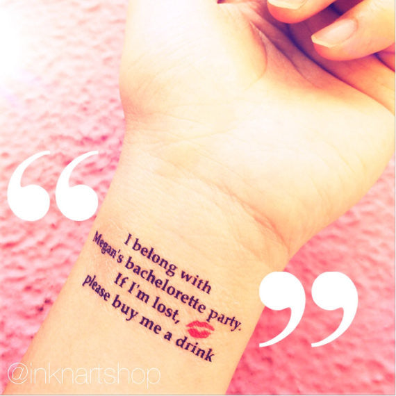 Custom Tattoo - Mini Red Lip/ Martini Glass Party Tattoo