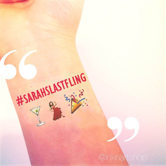 Custom Tattoo - Girls Drinking Night Emoji Party Tattoo