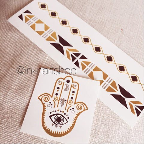 Set of 3 Hamsa Hand Bracelet Eye Evil Set Metallic Gold Silver Jewel