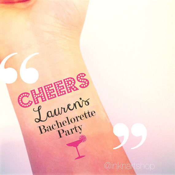 Custom Tattoo - Martini Glass Cheers Party Tattoo