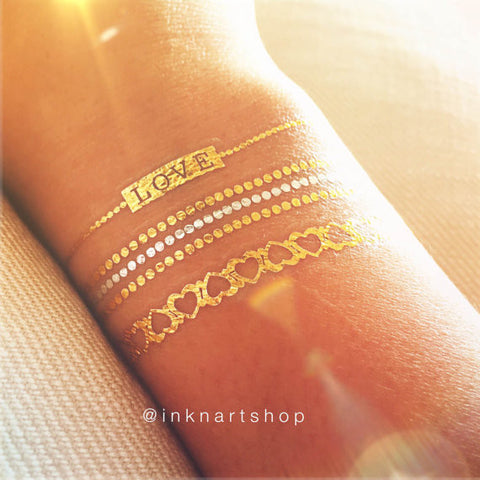 6pcs + Set Metallic Bracelet Gold Foil