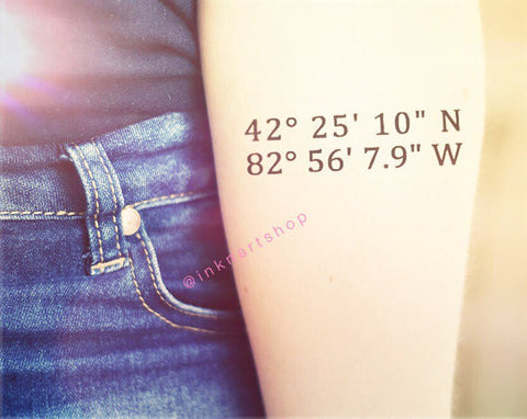 Set of 2 Custom Tattoo - Small Size Map Coordinate