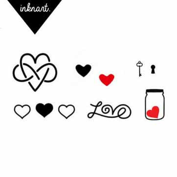 Set of 10 Love Theme Tattoo Set