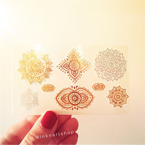 Set of 8 Gold Silver Jewel Mandala Metallic Temporary Tattoo